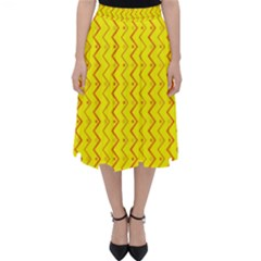 Yellow Background Abstract Folding Skater Skirt