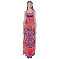 Floral Background Texture Pink Empire Waist Maxi Dress