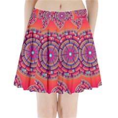 Floral Background Texture Pink Pleated Mini Skirt