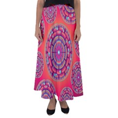 Floral Background Texture Pink Flared Maxi Skirt