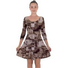 Color Abstract Background Textures Quarter Sleeve Skater Dress