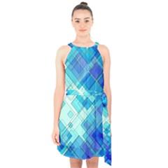 Abstract Squares Arrangement Halter Collar Waist Tie Chiffon Dress