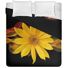 Sun Flower Blossom Bloom Particles Duvet Cover Double Side (california King Size) by Nexatart