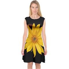 Sun Flower Blossom Bloom Particles Capsleeve Midi Dress