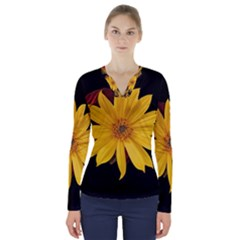 Sun Flower Blossom Bloom Particles V Neck Long Sleeve Top