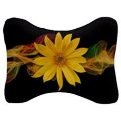 Sun Flower Blossom Bloom Particles Velour Seat Head Rest Cushion by Nexatart