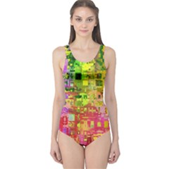Color Abstract Artifact Pixel One Piece Swimsuit