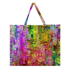 Color Abstract Artifact Pixel Zipper Large Tote Bag