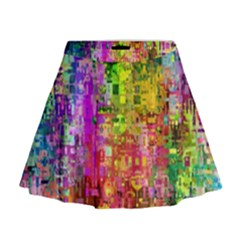 Color Abstract Artifact Pixel Mini Flare Skirt