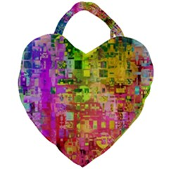 Color Abstract Artifact Pixel Giant Heart Shaped Tote by Nexatart