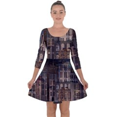 Architecture City Home Window Quarter Sleeve Skater Dress