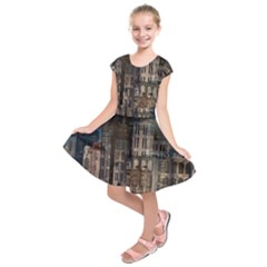 Architecture City Home Window Kids  Short Sleeve Dress