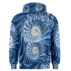 Blue Fractal Abstract Spiral Men s Pullover Hoodie