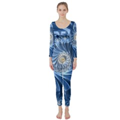Blue Fractal Abstract Spiral Long Sleeve Catsuit