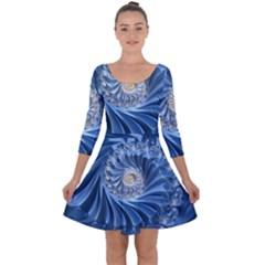 Blue Fractal Abstract Spiral Quarter Sleeve Skater Dress