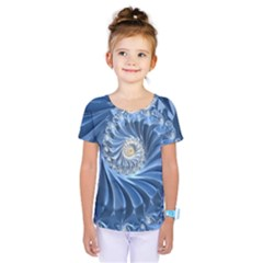 Blue Fractal Abstract Spiral Kids  One Piece Tee