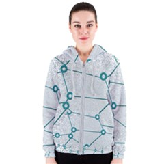 Network Social Abstract Women s Zipper Hoodie