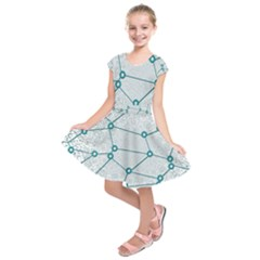 Network Social Abstract Kids  Short Sleeve Dress