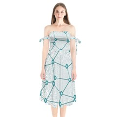 Network Social Abstract Shoulder Tie Bardot Midi Dress