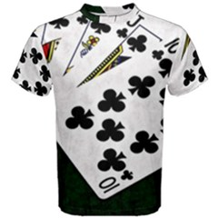 Poker Hands   Royal Flush Clubs Men s Cotton Tee