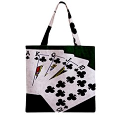 Poker Hands   Royal Flush Clubs Zipper Grocery Tote Bag
