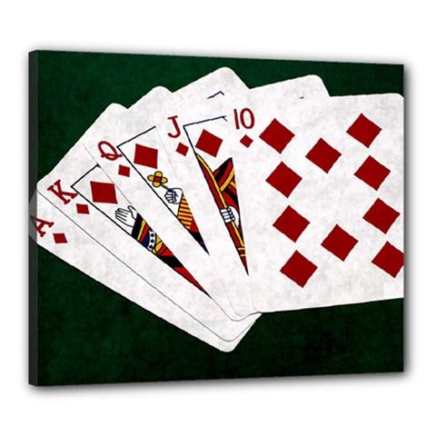 Poker Hands   Royal Flush Diamonds Canvas 24  X 20