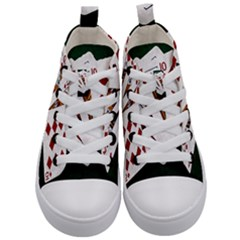 Poker Hands   Royal Flush Diamonds Kid s Mid Top Canvas Sneakers