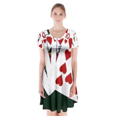 Poker Hands   Royal Flush Hearts Short Sleeve V Neck Flare Dress