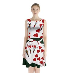 Poker Hands   Royal Flush Hearts Sleeveless Waist Tie Chiffon Dress