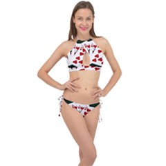 Poker Hands   Royal Flush Hearts Cross Front Halter Bikini Set