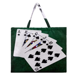 Poker Hands   Royal Flush Spades Zipper Large Tote Bag by FunnyCow