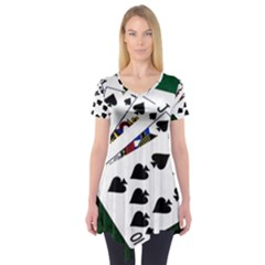 Poker Hands   Royal Flush Spades Short Sleeve Tunic
