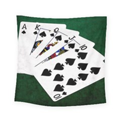 Poker Hands   Royal Flush Spades Square Tapestry (small)