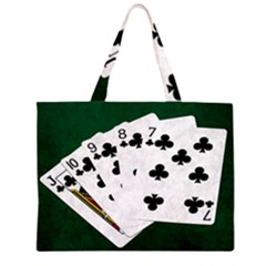 Poker Hands   Straight Flush Clubs Zipper Large Tote Bag by FunnyCow