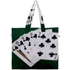 Poker Hands   Straight Flush Clubs Canvas Travel Bag by FunnyCow
