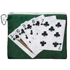 Poker Hands   Straight Flush Clubs Canvas Cosmetic Bag (xxl) by FunnyCow
