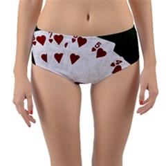 Poker Hands Straight Flush Hearts Reversible Mid Waist Bikini Bottoms