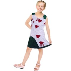 Poker Hands Straight Flush Hearts Kids  Tunic Dress