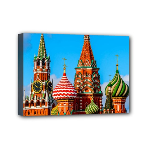 Moscow Kremlin And St  Basil Cathedral Mini Canvas 7  X 5