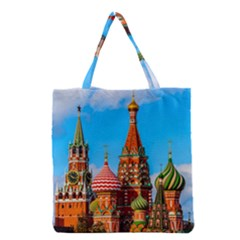 Moscow Kremlin And St  Basil Cathedral Grocery Tote Bag by FunnyCow
