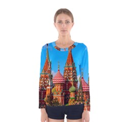 Moscow Kremlin And St  Basil Cathedral Women s Long Sleeve Tee