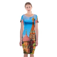 Moscow Kremlin And St  Basil Cathedral Classic Short Sleeve Midi Dress