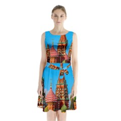 Moscow Kremlin And St  Basil Cathedral Sleeveless Waist Tie Chiffon Dress