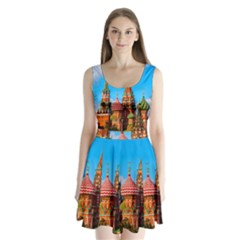 Moscow Kremlin And St  Basil Cathedral Split Back Mini Dress