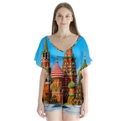 Moscow Kremlin And St  Basil Cathedral V Neck Flutter Sleeve Top