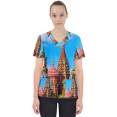 Moscow Kremlin And St  Basil Cathedral Scrub Top