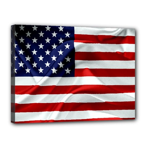 American Usa Flag Canvas 16  X 12