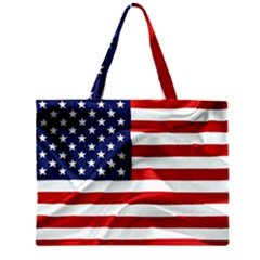 American Usa Flag Zipper Large Tote Bag by FunnyCow