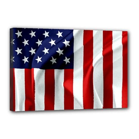 American Usa Flag Vertical Canvas 18  X 12