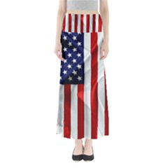 American Usa Flag Vertical Full Length Maxi Skirt